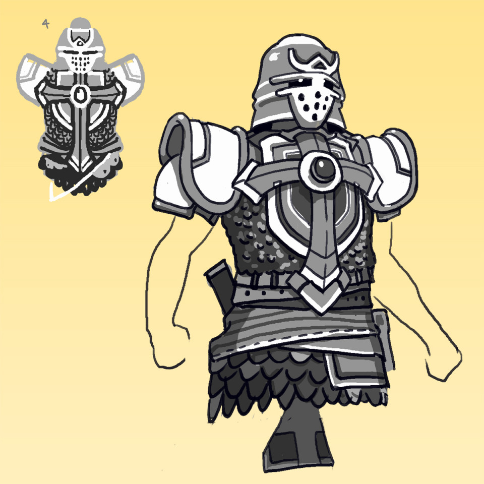 This is the line art from yesterday's thumbnail designs, the Armour of God! (Looks like Shredder saw the light). There's some super quick gradient map for some colour samples.
