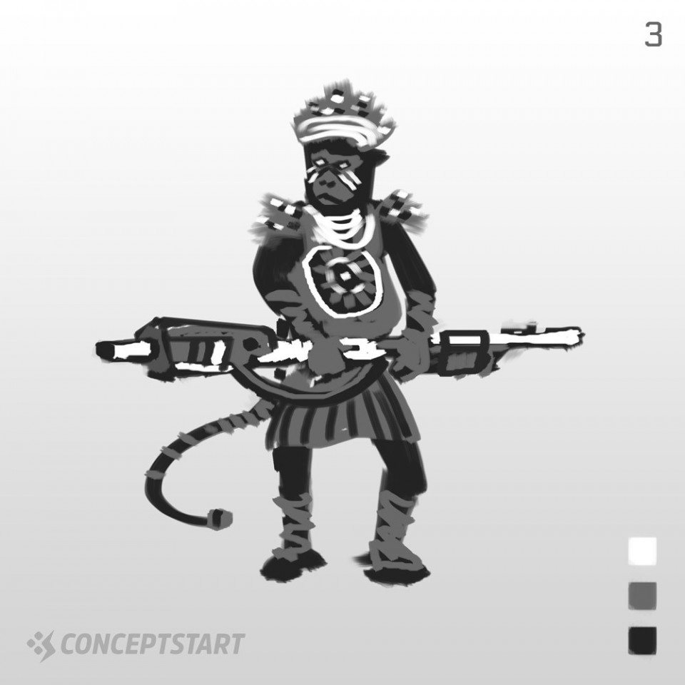 Sci-Fi Character Design ThumbnailsGetting back into some real character design again, starting this brief with 3 value thumbnails.This Crazy Monkey Tribesman with a machine gun is shaping up nicely.Which thumbnail do you prefer?