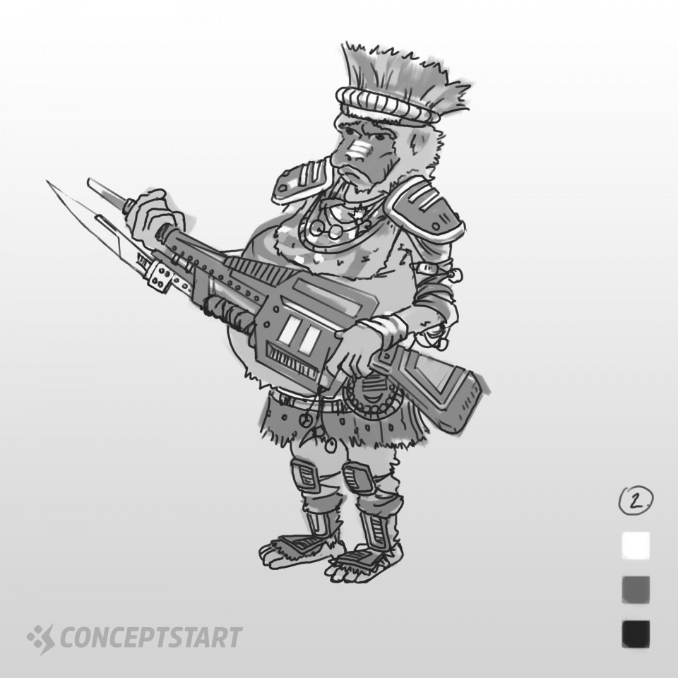 Sci-Fi Character Design Line ArtContinuing from yesterday's thumbnail session of the Crazy monkey tribesman with a Machine Gun… these two designs study out so I wanted to explore the line art for them.They're a little crazy so I wanted the guitar to almost feel like it's something they could play!Which one one should I refine to a finish?