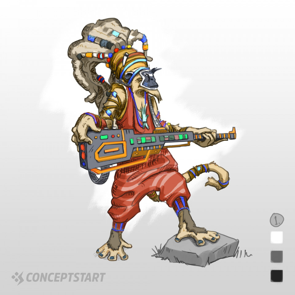 Sci-Fi Character Design Colour VariationsContinuing on with this generated idea of a Sci-Fi Tribal Monkey, I'm exploring some colour variations. The brief also suggested 'crazy' so I really wanted to push the tribal theme with crazy outlining colours.Which do you think is best? The final version will be painted over with appropriate effects, details and textures...