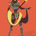 Ancient Egyptian inspired character with a Art Graphic Style.