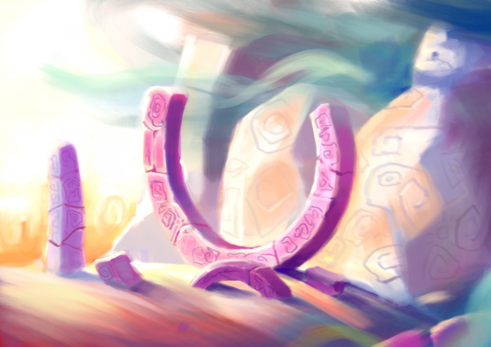 Landscape Painting<br />Trying out some landscape, here's some Voodoo Temple Ruins…
