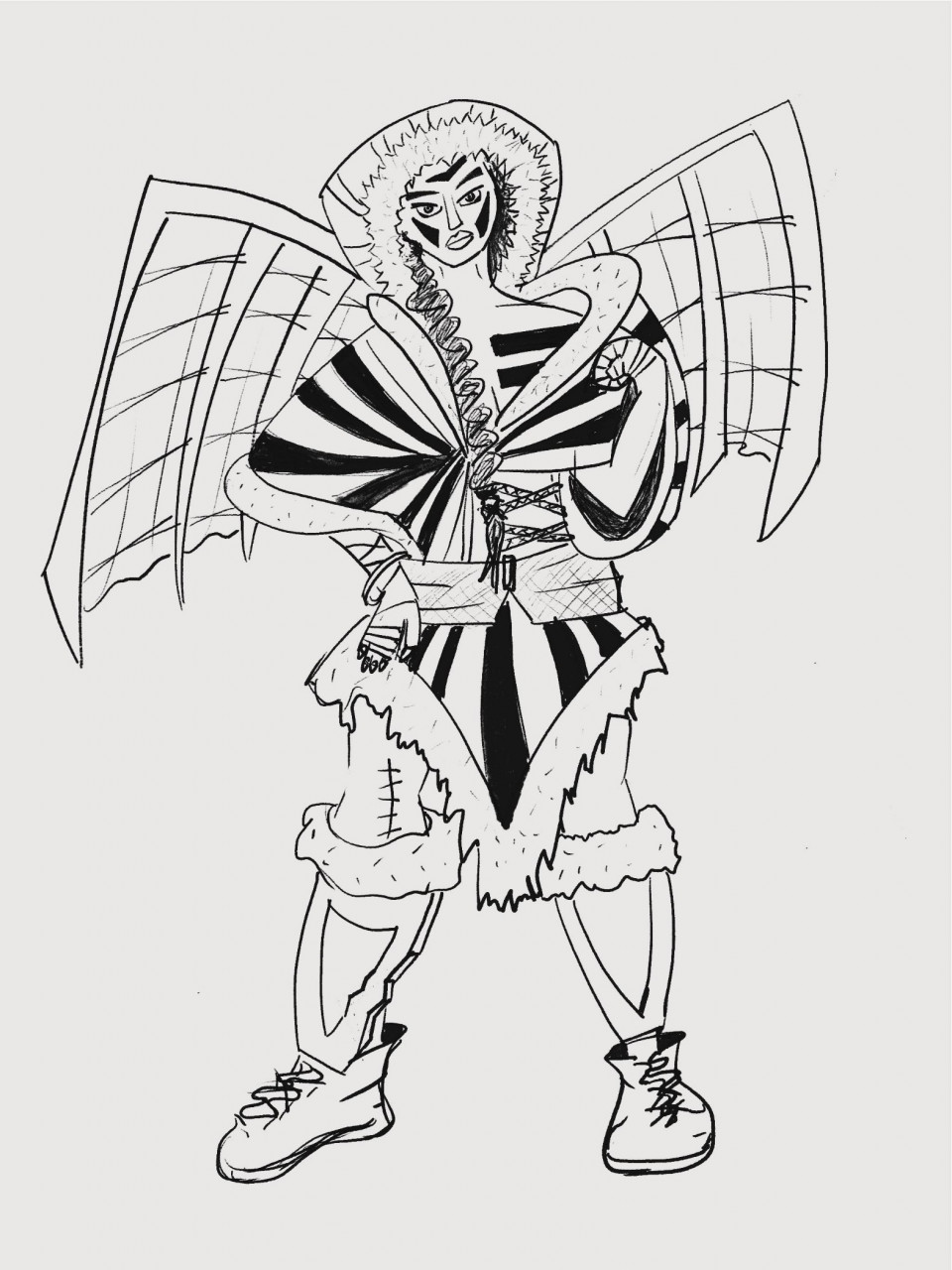 I would never in a million years have thought to create this character.She is a young adult female, intended for a moba game (had to look that up). prize fighter Amazon tribe woman armed with a wing suit, sneaky and walks with a limp. Sneaky, gave her the hoodLimp gave her the scar on her legprize fighter, supposed to be a fist, seemed strong at the time but looking again looks a bit weak.